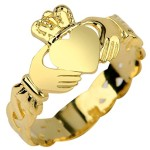 Ladies 14k Gold Claddagh Ring withTrinity Band