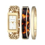 Anne Klein Women's Watch and Bracelet Set (AK/1668GBST)